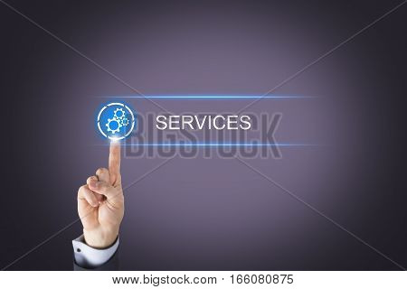 Human Hand Touching Service Button on Visual Screen