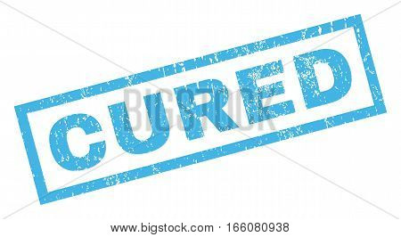 Cured blue text rubber seal stamp watermark. Caption inside rectangular shape with grunge design and unclean texture. Inclined vector blue ink sign on a white background.