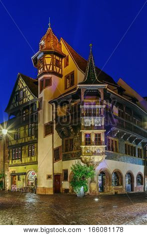 The Pfister house is a historical monument located in Colmar in the French department of Haut-Rhin. Evening