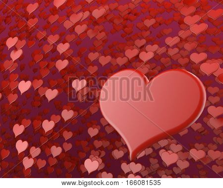 red big heart for valentine's day february 3D illustration