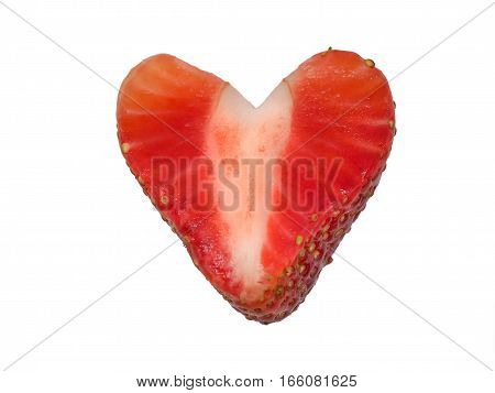 Juicy Strawberry Cut Into a Heart Shape on White Background, Isolated Image