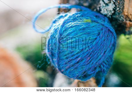 Blue wool ball on natural tree branch. Macro view
