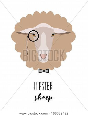 Vector hipster sheep in monocle in flat cartoon style. On isolated background. Poster, banner, print advertisement graphic design element isolated