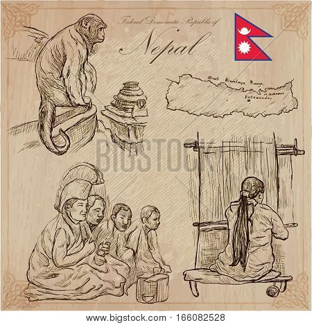 Travel NEPAL. Pictures of Life. Vector hand drawn collection. Drawing pack of line art illustrations. Set of freehand sketches outlines. Traveling around Federal Democratic Republic of Nepal.