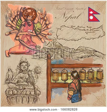 Travel NEPAL.Pictures of Life.Vector hand drawn collection. Drawings pack of colored line art illustrations.Set of freehand sketches outlines.Traveling around Federal Democratic Republic of Nepal.
