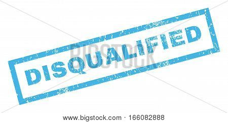 Disqualified text rubber seal stamp watermark. Tag inside rectangular shape with grunge design and dust texture. Inclined vector blue ink emblem on a white background.