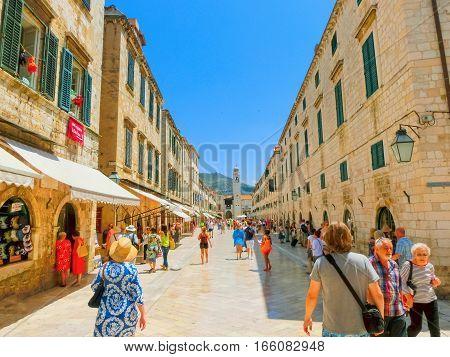 Dubrovnik, Croatia - June 07, 2015: The people walking on the street in the old town of Dubrovnik, Croatia at June 07, 2015 . Dubrovnik is a UNESCO World Heritage site