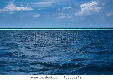 Blue Ocean Background, Water Line Horizon. Nature Landscape