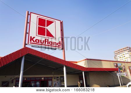 Prague, Czech Republic - January 21: Kaufland Logo On Hypermarket From German Chain, Part Of Schwart