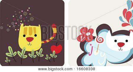 cute animal card template set 1