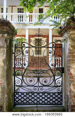 Charleston, SC, USA - September 9: George Eveleigh House gatesway in the French Quarter of Charleston SC