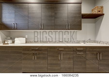 Stunning Wet Bar With Dark Wood Shaker Cabinets