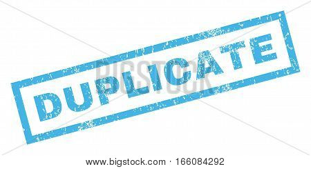 Duplicate text rubber seal stamp watermark. Caption inside rectangular shape with grunge design and scratched texture. Inclined vector blue ink emblem on a white background.