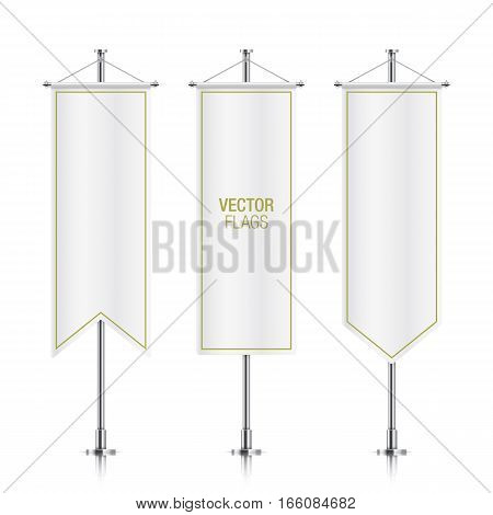 White elegant vertical flag mockups, isolated on a white background. Set of vector banner flag templates hanging on a silver metallic poles.