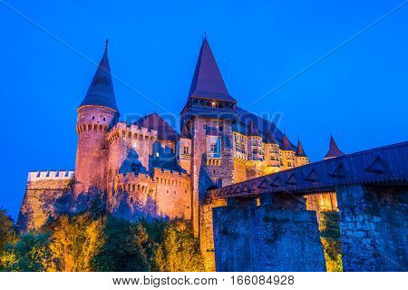Medieval castle in Hunedoara, known as Corvin Castle, one of the most beautiful monuments of Gothic architecture in Romania,  governed by Iancu de Hunedoara