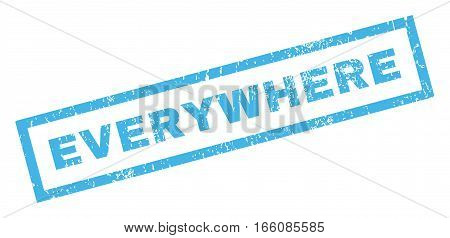 Everywhere text rubber seal stamp watermark. Caption inside rectangular banner with grunge design and dust texture. Inclined vector blue ink emblem on a white background.