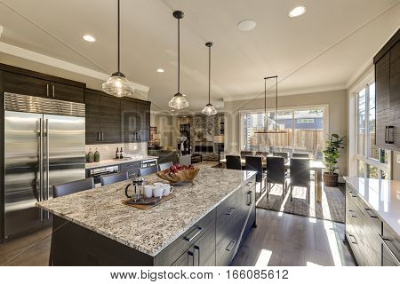 Modern Gray Kitchen Features Dark Gray Cabinetry
