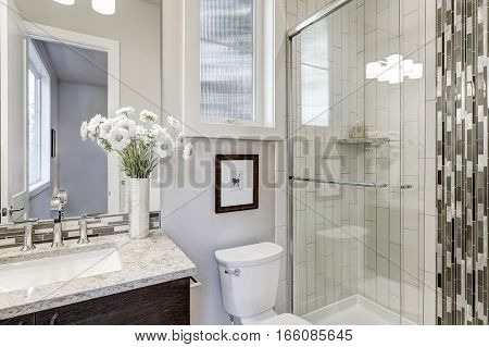 Glass Walk-in Shower In A Bathroom Of New Luxury Home
