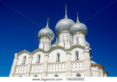 Rostov Kremlin. The Domes Of The Assumption Cathedral. Rostov, Yaroslavl Oblast, Russia