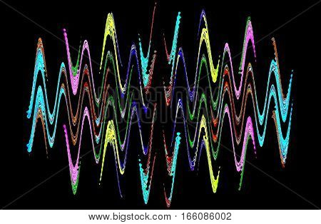 Multicolored abstract waveform pattern on black background.Digitally generated image.