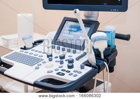 Medical Equipment Background, Close-up Ultrasound Machine. Selective Focus