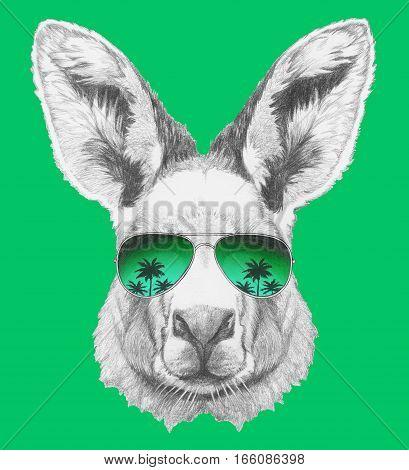 Portrait of Kangaroo with mirror sunglasses. Hand drawn illustration.