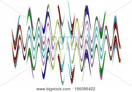 Multicolored abstract waveform pattern on white background.Digitally generated image.