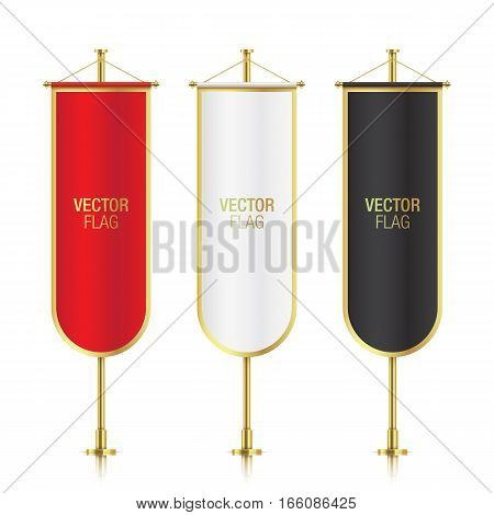 Set of vector banner flag templates hanging on a golden poles. Mockups of red, white and black gothic vertical flags with oval endings, isolated on a white background.