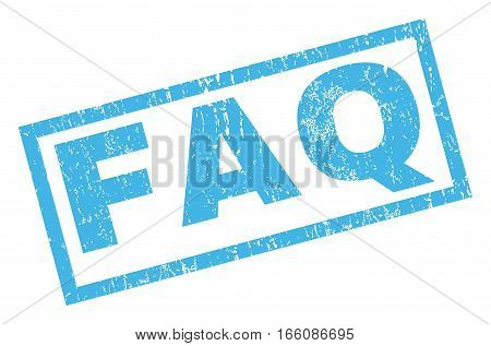 FAQ text rubber seal stamp watermark. Caption inside rectangular banner with grunge design and dirty texture. Inclined vector blue ink emblem on a white background.