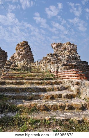 The ruins of fortress walls in the old Nessebar. Bulgaria.
