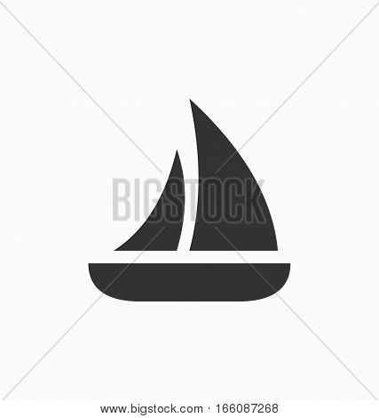 Sailboat icon simple flat style  vector sign.