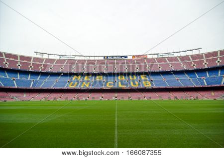 Barcelona, Spain - September 22, 2014: Nou Camp is a largest stadium in Europe and the second largest association football stadium in the world. Barcelona, Catalonia, Spain.