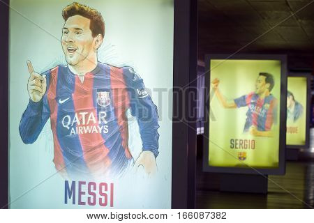 Barcelona, Spain - September 22, 2014: Hand-drawn footballers posters at the museum FC Barcelona. Lionel Messi. Nou Camp, Barcelona, Catalonia, Spain