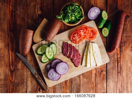 Ingredients for Making Sandwhich. View from Above