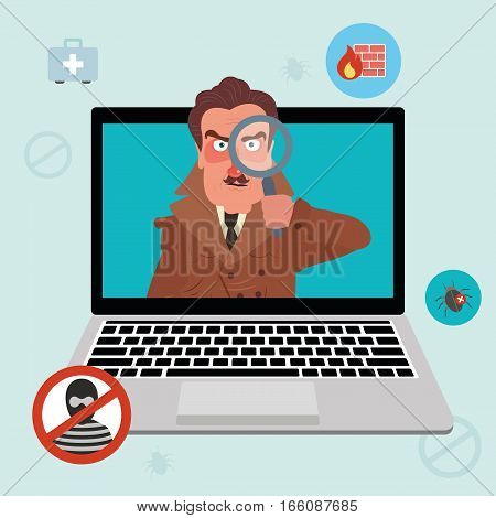 Internet security and spyware warning with detective. Computer attack and virus infection. Vector flat icons and illustrations
