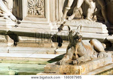 Fonte Gaia (fountain of joy) with a she-wolf symbol of Siena. Piazza del Campo (Campo square). Siena Toscana (Tuscany) Italy