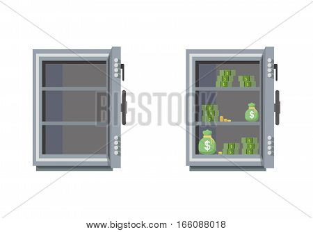 Empty and full of money safes. Safe isolated on white background