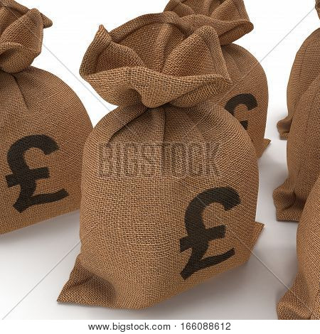 A sack bag of Pounds on white background. 3D illustration