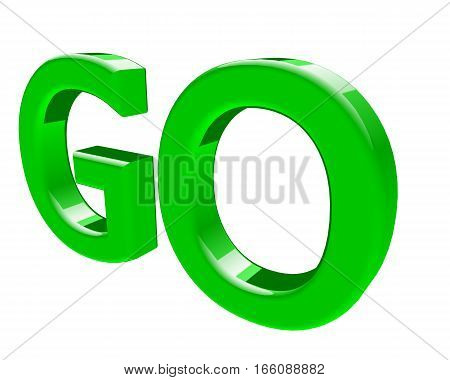 3d rendering GO text. 3d illustration on white background.