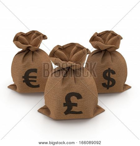 Sacks with money different currencies on white background. Dollar, Euro, Pound. 3D illustration