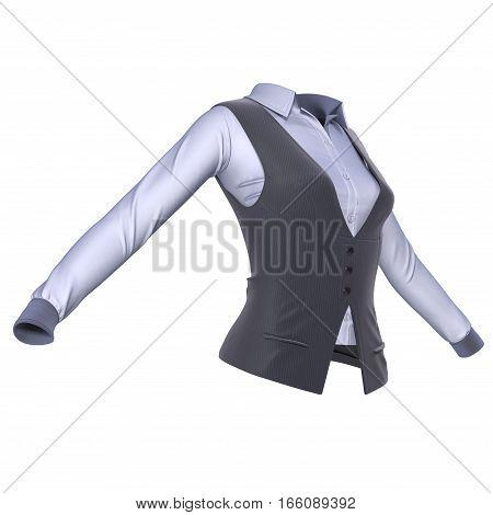 Women Suit Jacket on white background. 3D illustration