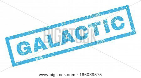 Galactic text rubber seal stamp watermark. Tag inside rectangular shape with grunge design and scratched texture. Inclined vector blue ink emblem on a white background.