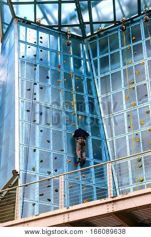 Chattanooga, TN, USA - April 10: Man climbing at the outdoor High Point climbing gym at The Block in  Chattanooga Tennessee