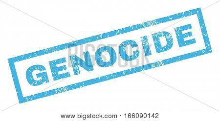 Genocide text rubber seal stamp watermark. Tag inside rectangular shape with grunge design and unclean texture. Inclined vector blue ink sticker on a white background.