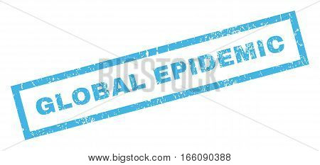 Global Epidemic text rubber seal stamp watermark. Caption inside rectangular banner with grunge design and scratched texture. Inclined vector blue ink sign on a white background.