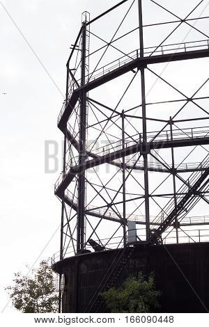 Rusty old stell Gasometer in Istanbul Turkey.