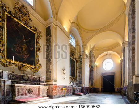 Catania, Italy - September 13, 2015: Interior of the Cathedral of Santa Agatha - Catania duomo in Catania, Sicily, Italy.