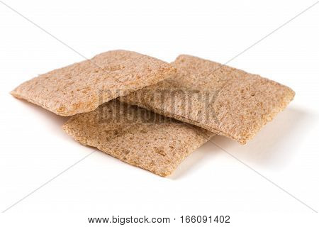 Three crisp bread isolated on white background.