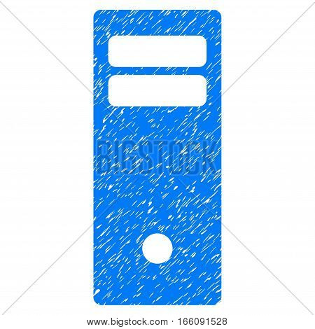 Computer Mainframe grainy textured icon for overlay watermark stamps. Flat symbol with dirty texture. Dotted vector blue ink rubber seal stamp with grunge design on a white background.