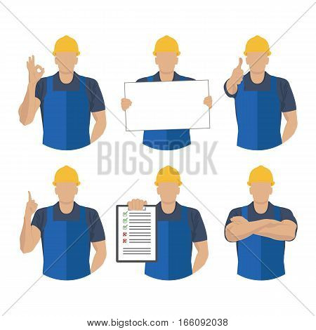 Set icons builder with various symbolic instructions and hand position. Vector illustration.